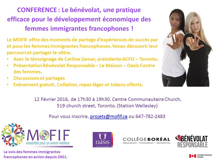 MOFIF vous invite à un rendez-vous autour du bénévolat des femmes immigrantes francophones