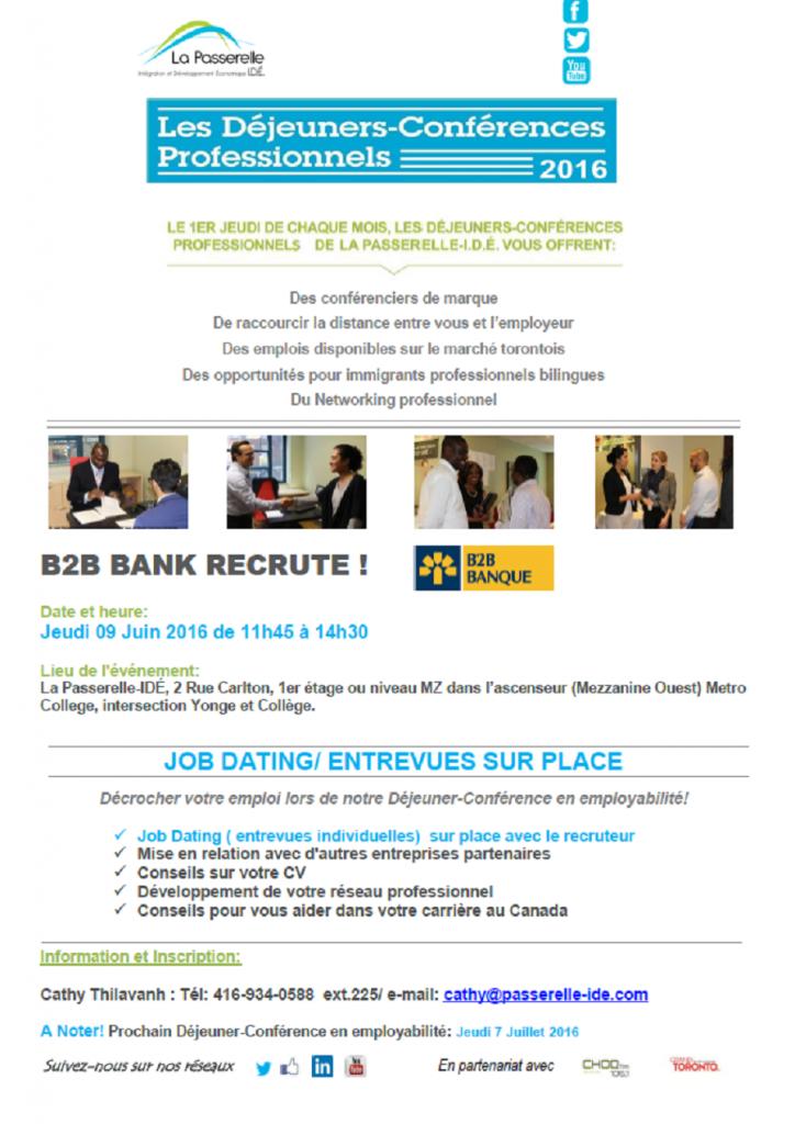 Rencontrez les employeurs de la banque B2B au prochain déjeuner-conférence de La Passerelle-IDE