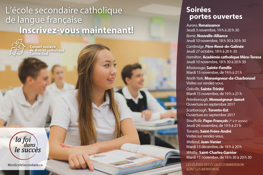 L'ECOLE SECONDAIRE CATHOLIQUE DE LANGUE FRANÇAISE - INSCRIVEZ-VOUS MAINTENANT!