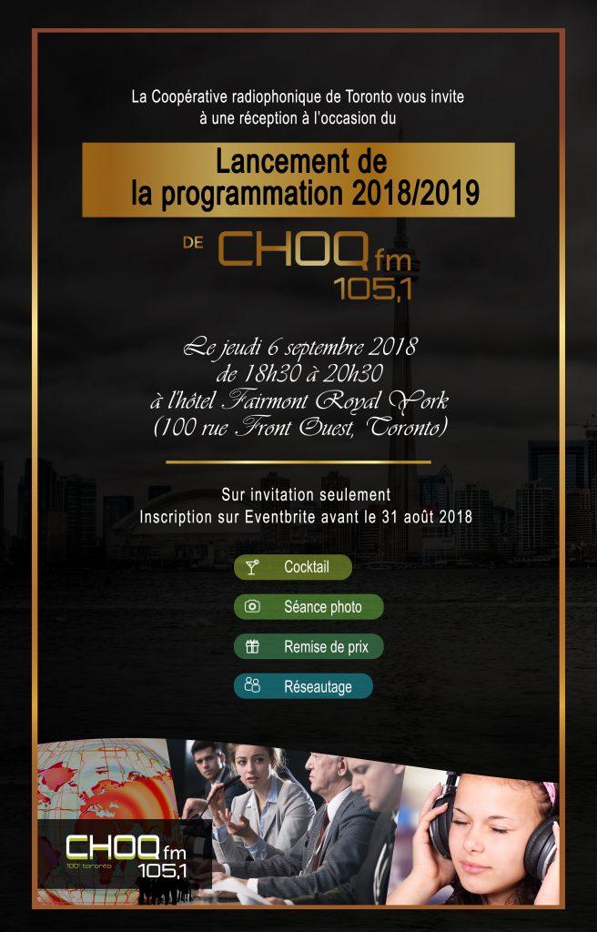 Soirée de lancement de la programmation 2018-2019 de CHOQ FM 105.1