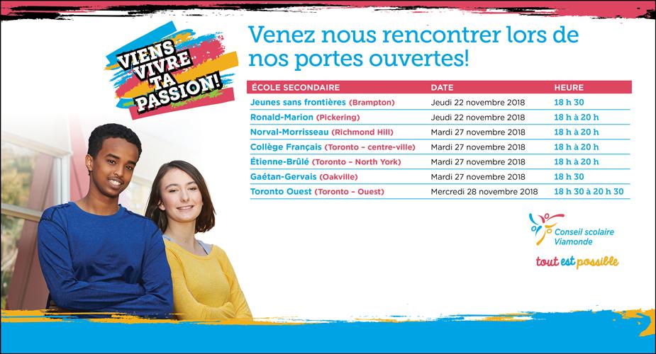Découvrez le calendrier des portes ouvertes des écoles secondaires Viamonde