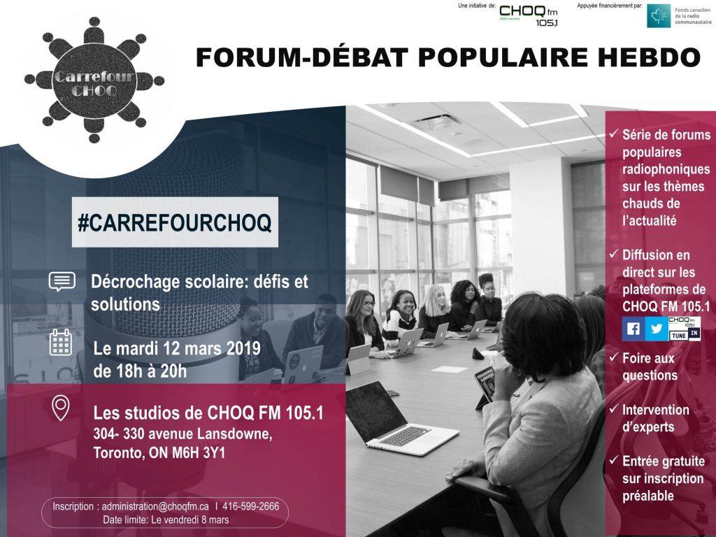Forum-débat radiodiffusé sur le décrochage scolaire