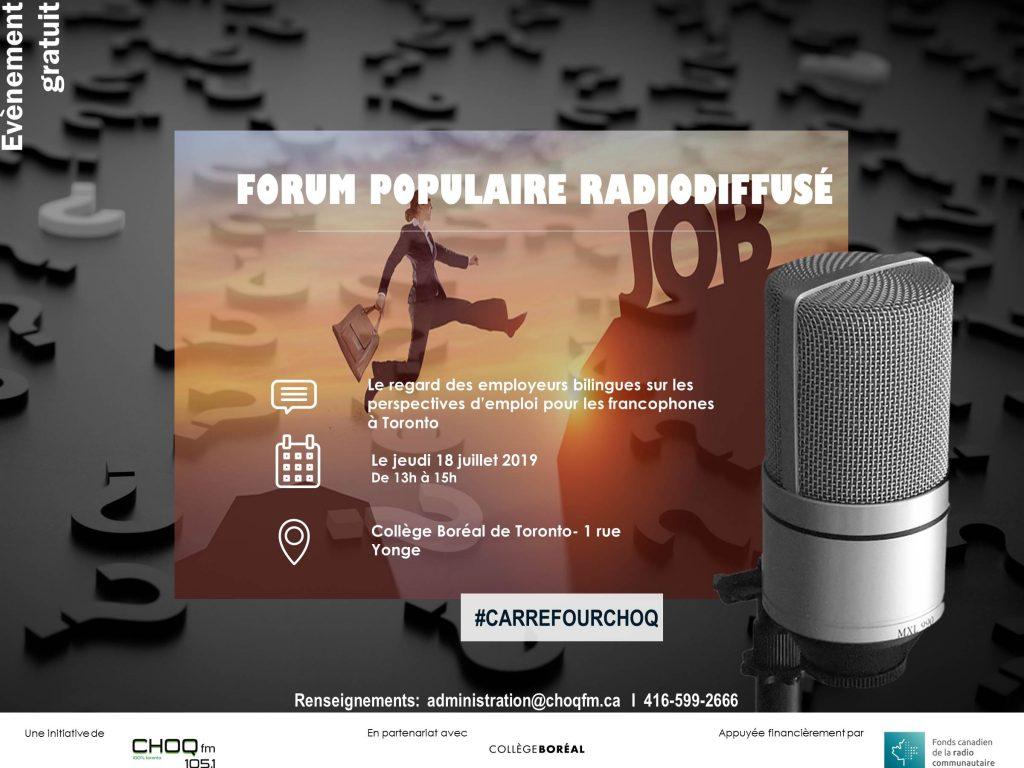 Forum radiodiffusé sur les perspectives d'emploi pour les francophones à Toronto