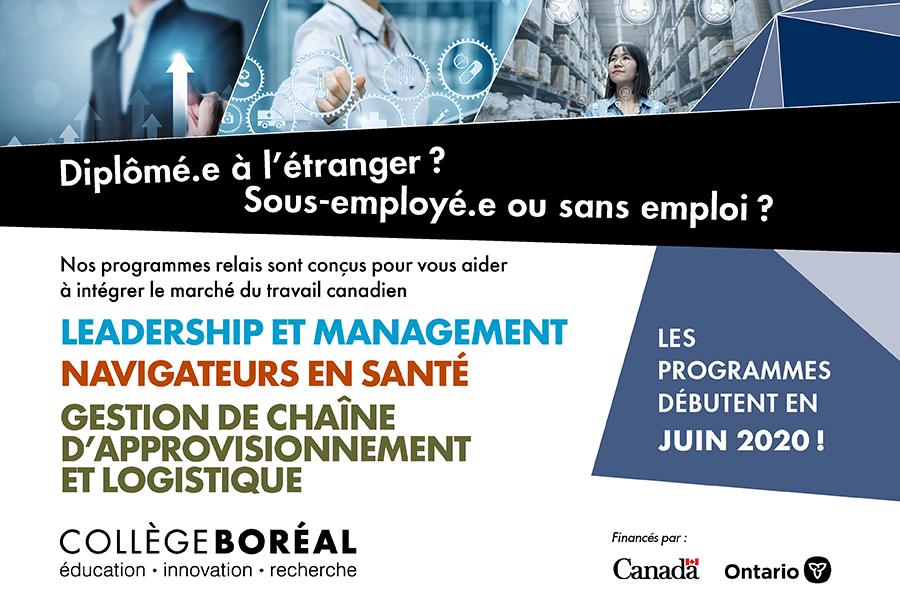 Inscrivez-vous dès maintenant aux programmes relaisdu Collège Boréal( ils débutentenjuin 2020!)