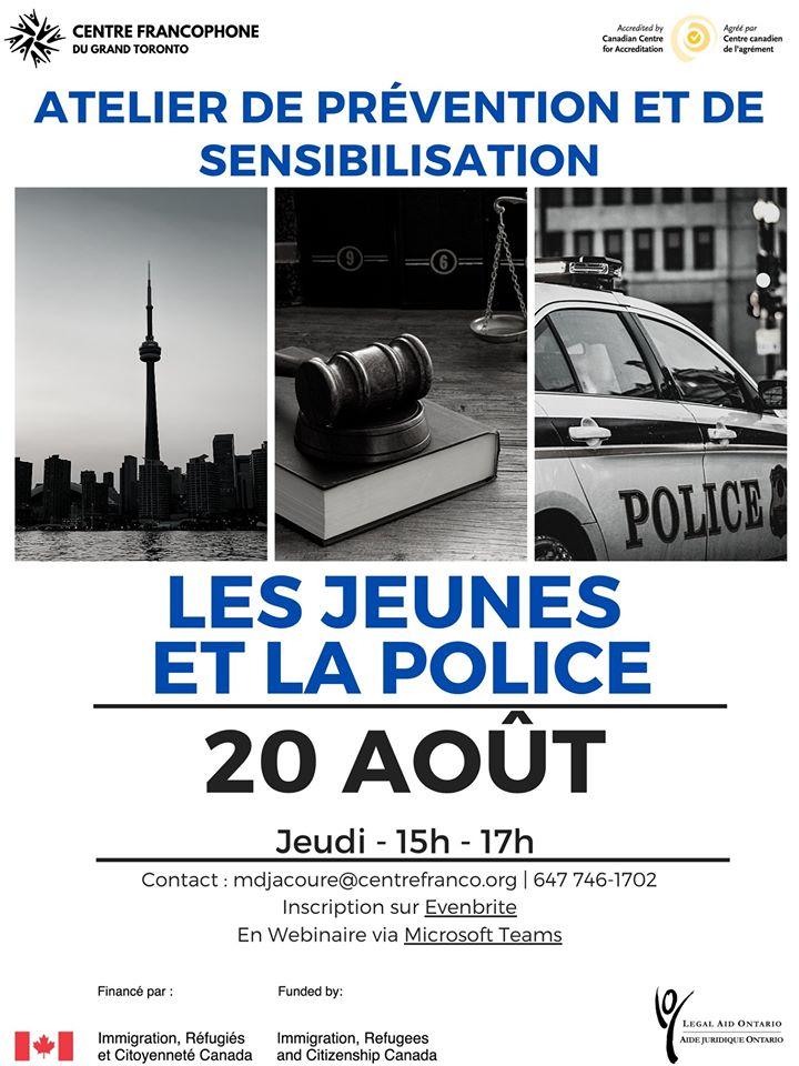 Affiche pour le webinaire Les jeunes et la police