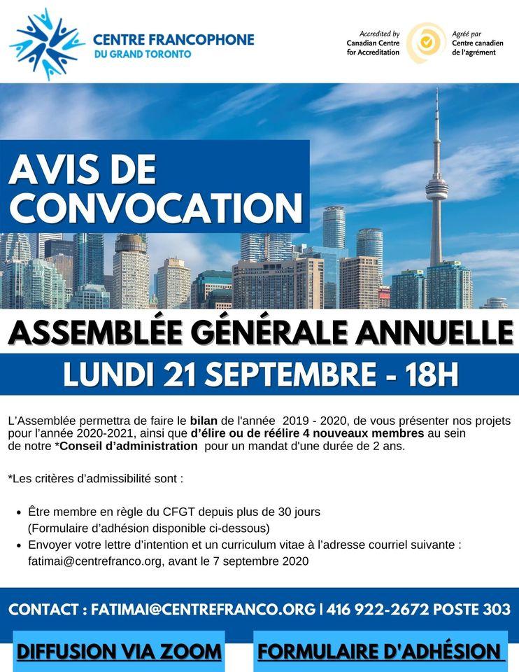 Affiche pour l'Assemblée générale annuelle du Centre Francophone du Grand Toronto