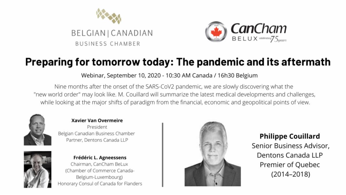 Affiche pour le webinaire Préparer pour demain aujourd'hui—la pandémie et ses conséquences