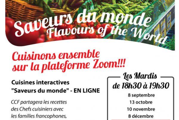 """Affiche pour Ateliers de cuisine en français """"Saveurs du monde"""""""