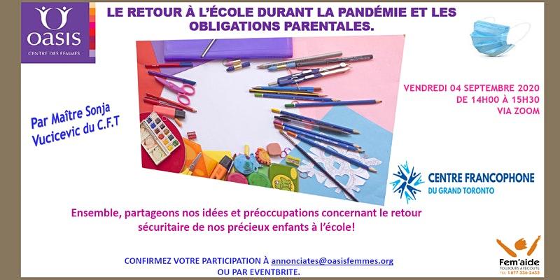 Affiche pour Le retour à l'école durant la pandémie et les obligations parentales