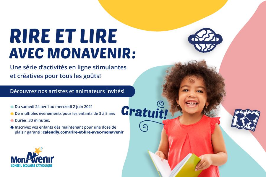 «Rire et Lire avec MonAvenir», une série d'activités virtuelles GRATUITES(3 à 5 ans)