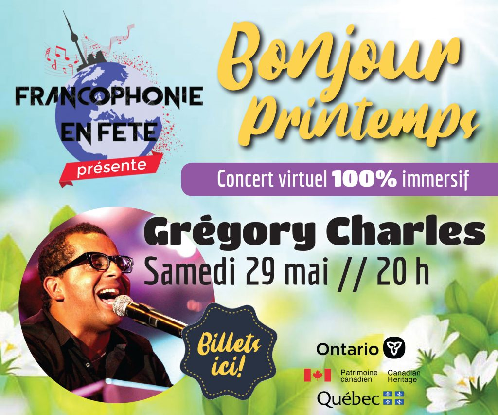 Gregory Charlesen spectacle tout spécial lesamedi 29 mai prochain